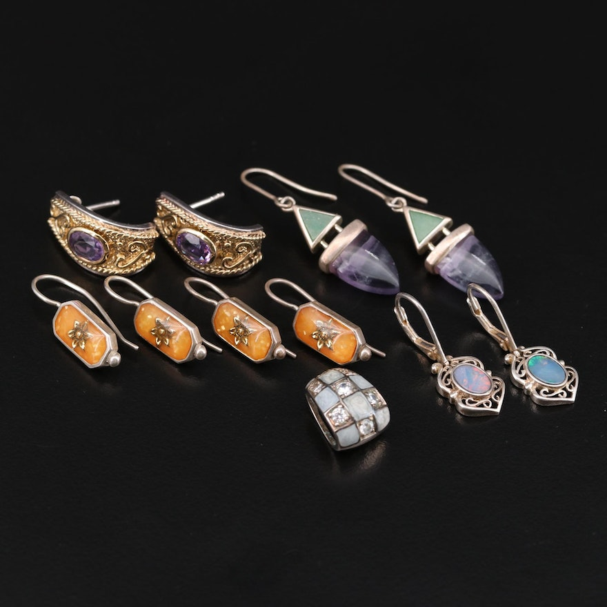 Sterling Silver Opal Doublet, Fluorite and Amethyst Earrings and Pendant