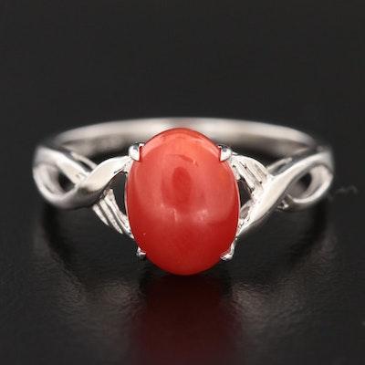 14K White Gold Coral Ring