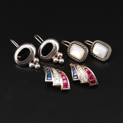 Sterling Silver Mother-of-Pearl, Sapphire and Ruby Jewelry with 14K Gold Accents