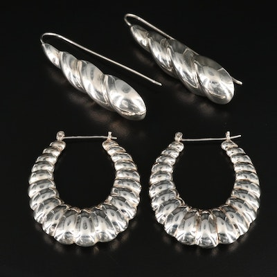 Sterling Silver Hoop and Drop Earrings