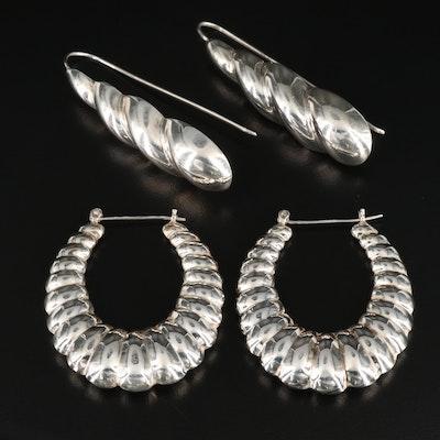 Sterling Silver Hoop and Drop Earrings