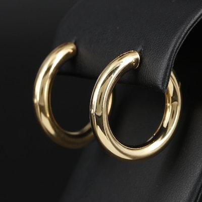 Italian 18K Yellow Gold Hoop Earrings