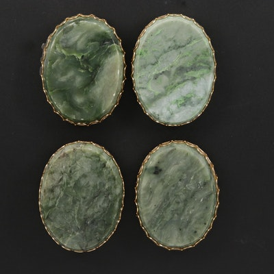 Framed Oval Nephrite Tablet Mineral Specimens