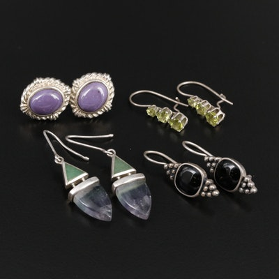 Selection of Sterling Silver Fluorite, Peridot and Black Onyx Earrings