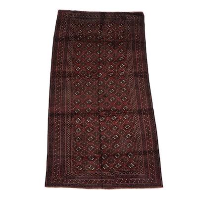 4'8 x 9'1 Hand-Knotted Persian Turkoman Bokhara Wool Rug