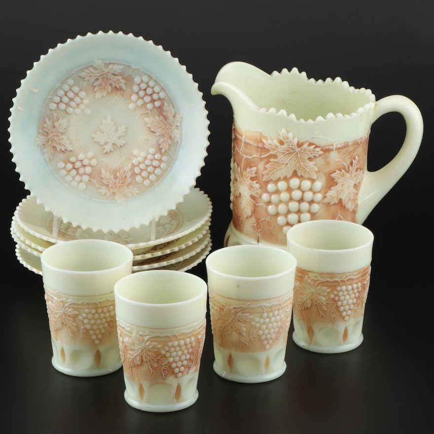 """Northwood """"Grape and Cable"""" Custard Glass Tableware"""