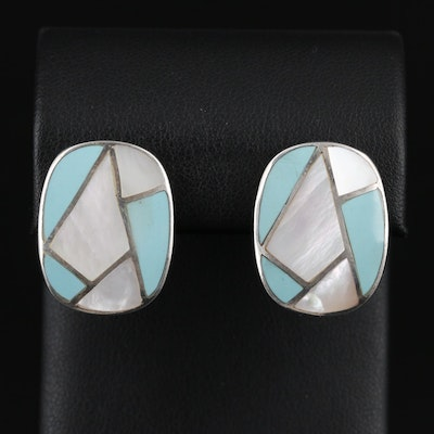 Sterling Silver Mother Of Pearl and Turquoise Inlay Earrings