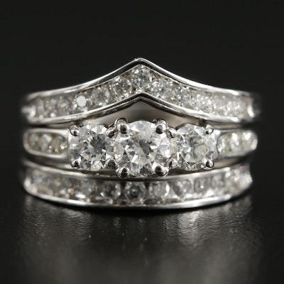 10K and 14K White Gold Diamond Stacking Rings