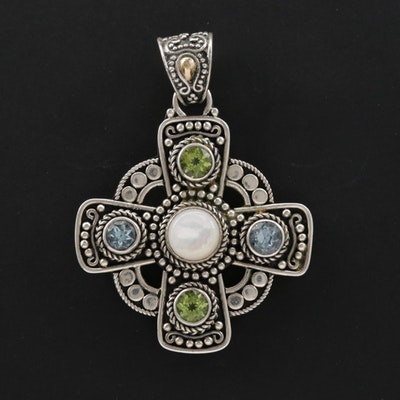 Sterling Silver Mother of Pearl Peridot and Topaz Greek Cross Pendant
