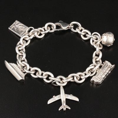 Tiffany & Co. Sterling Silver Travel Themed Charm Bracelet