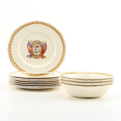 "Grindley ""His Majesty Edward VIII"" Fruit Bowls and Dessert Plates"