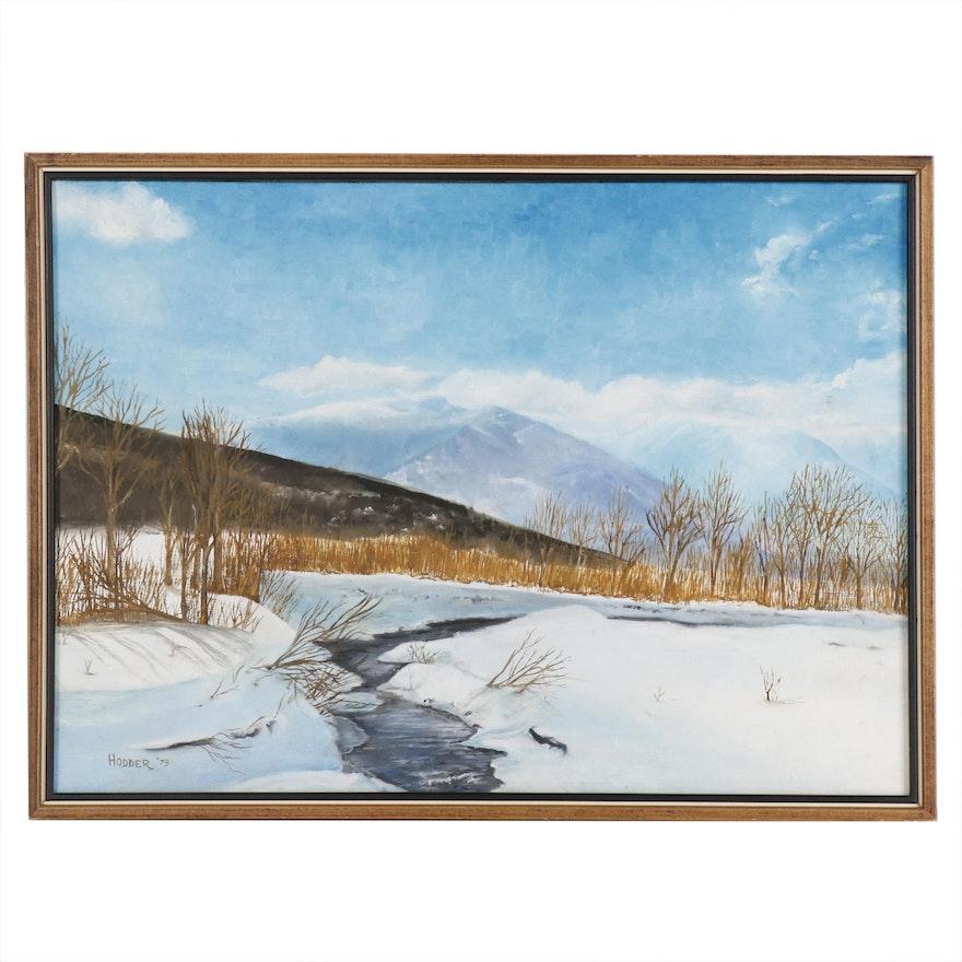 Winter Landscape Oil Painting, 1979