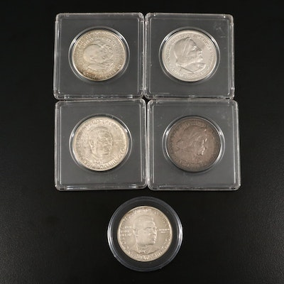 Five Antique to Vintage U.S. Commemorative Silver Half Dollars