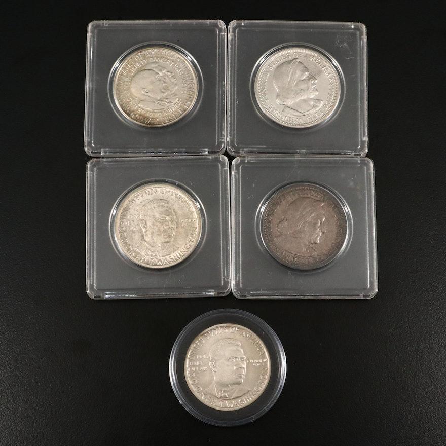 Five Antique to Vintage U.S. Commemorative Silver Half Dollars
