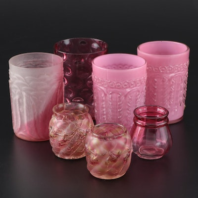 "Northwood Glass Tumblers and Toothpick Holders Including ""Leaf Umbrella"""