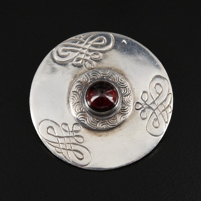 Sterling Silver Garnet Circle Brooch