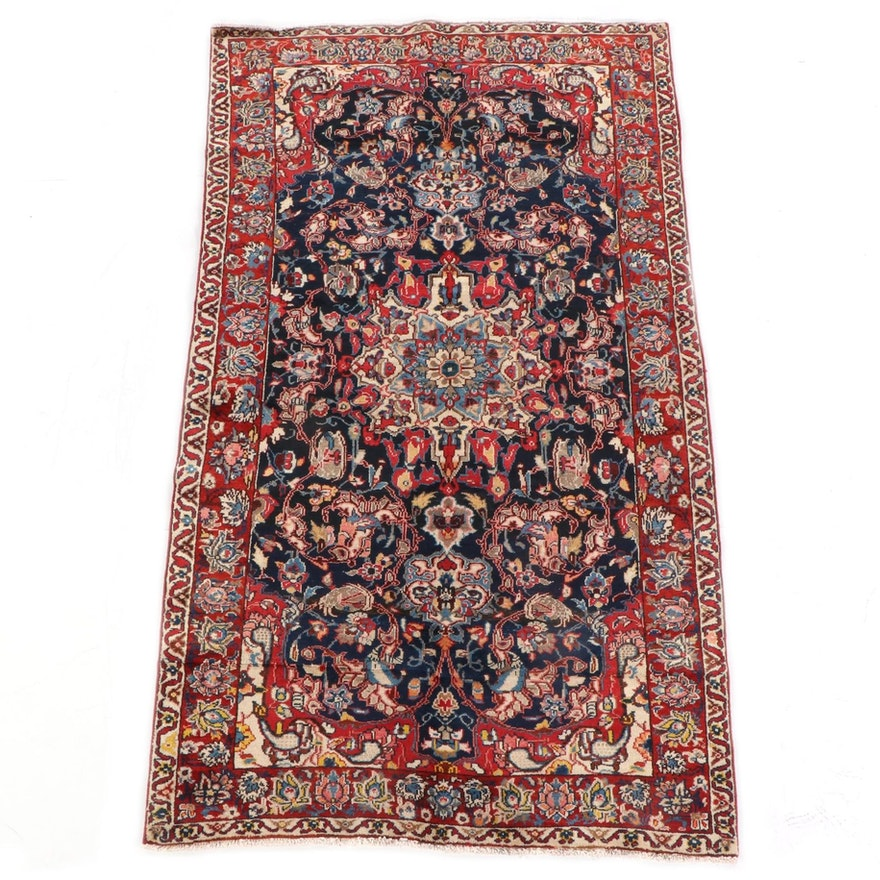 5'2 x 8'11 Hand-Knotted Persian Kashan Wool Rug