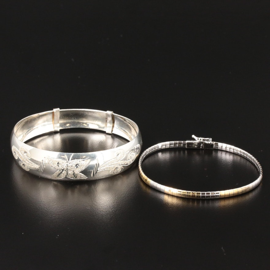 Sterling Silver Omega Chain and Bangle Bracelets