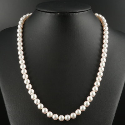Mikimoto Cultured Pearl Necklace with 18K Clasp, Folder, Box and Papers