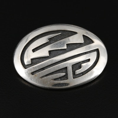 Vintage Billy Ray Hawee Hopi Sterling Silver Overlay Brooch