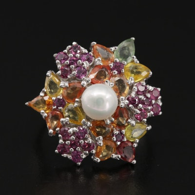 Sterling Silver, Cultured Pearl and Multi-Colored Gemstone Cluster Ring
