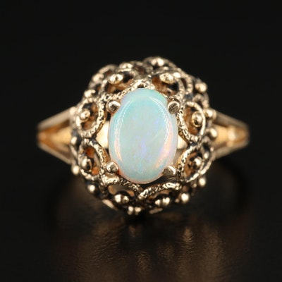 14K Yellow Gold Opal Dome Ring