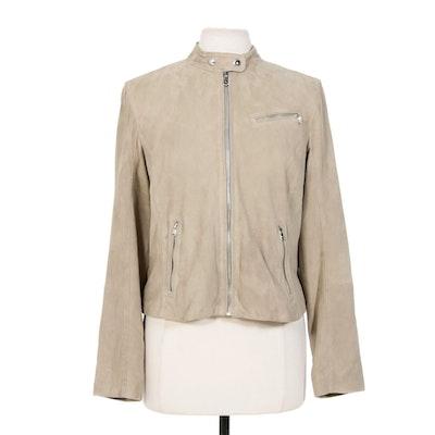 Women's Ralph Lauren Petite Taupe Suede Moto Jacket