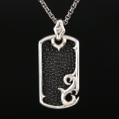 "Stephen Webster ""Thorn"" Sterling Silver Sting Ray Dog Tag Pendant Necklace"