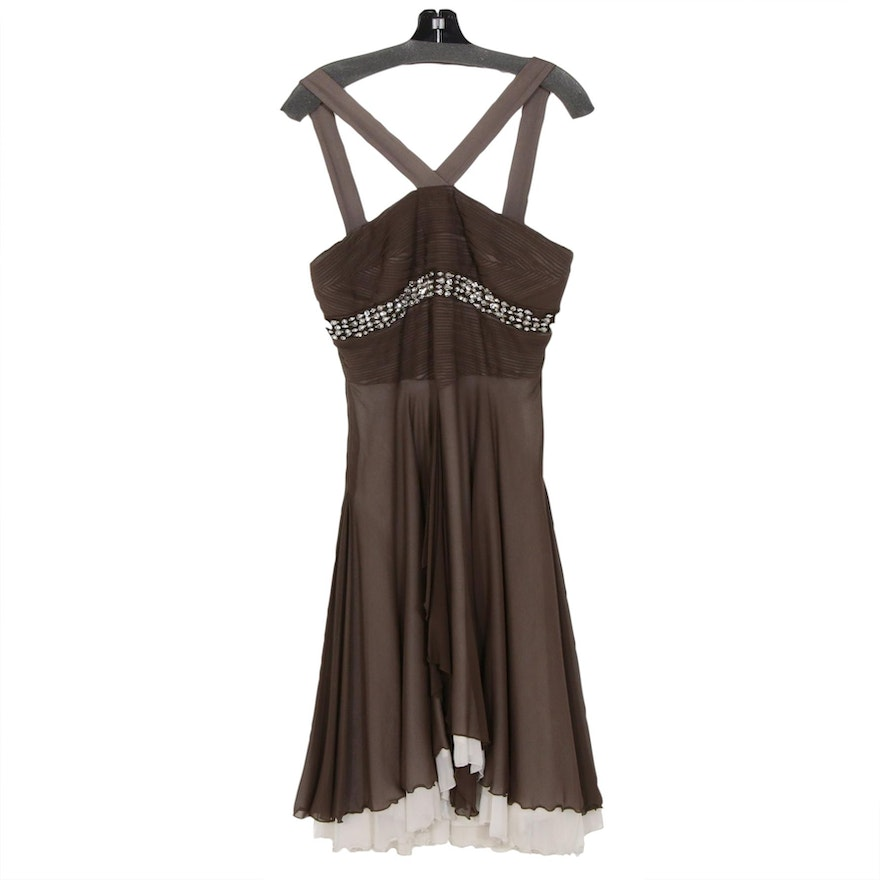 Andy Thé Anh Embellished Silk Pleated Swing Dress