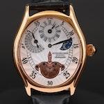 Stührling Adamas Automatic Regulator Rose Gold Tone Wristwatch