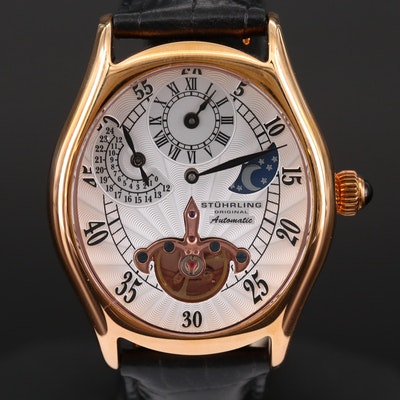 Stührling Adamas Automatic Regulator Rose Gold Tone Wristwatch