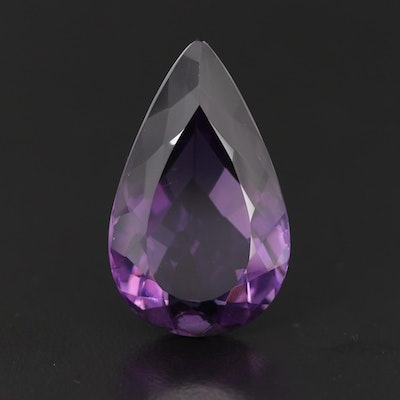 Loose 26.53 CT Pear Faceted Amethyst Gemstone