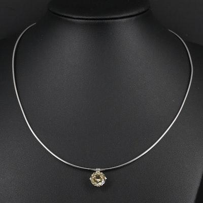 14K White Gold 3.55 CT Sapphire Pendant Necklace