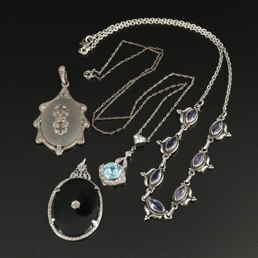 Vintage Sterling Glass and Amethyst Pendants and Necklaces