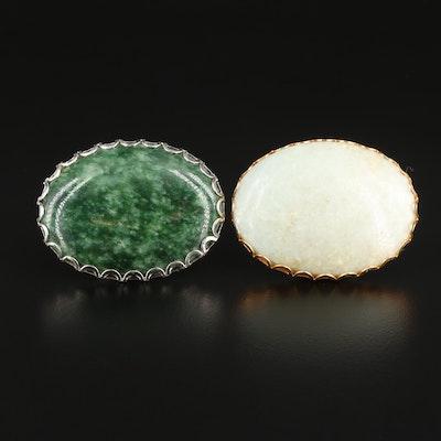 Framed Oval Jadeite and Nephrite Cabochon Mineral Specimens
