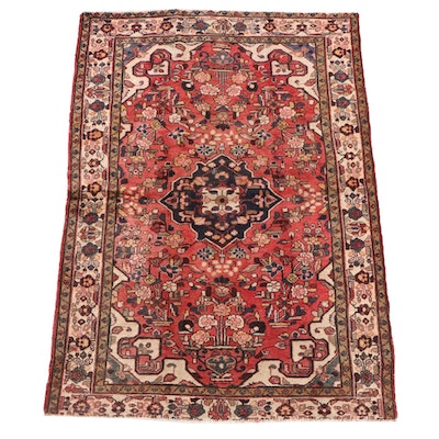 4'10 x 6'9 Hand-Knotted Persian Heriz Wool Rug