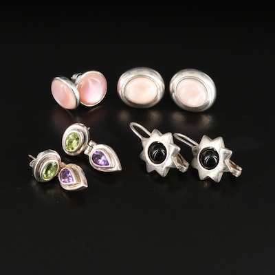 Assorted Sterling Silver Peridot, Amethyst and Mother of Pearl Earrings