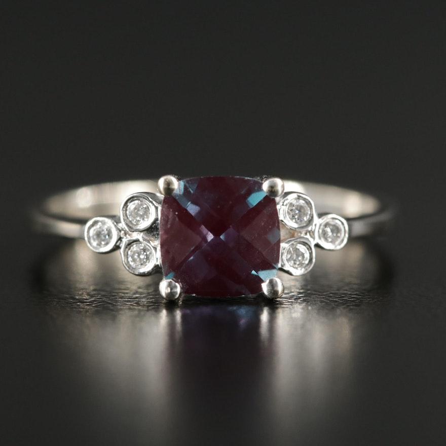 14K White Gold Corundum and Diamond Ring