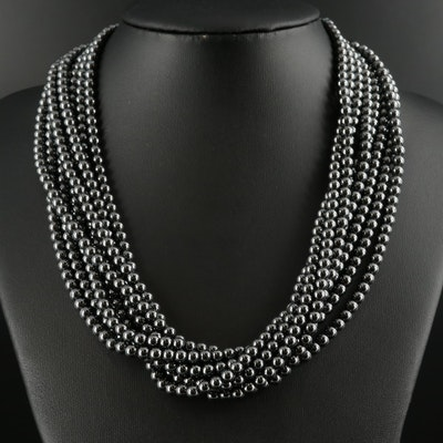 Tiffany & Co. Hematite Torsade Necklace with Sterling Clasp and Folder