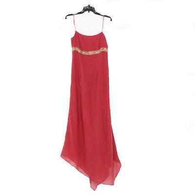 Gianfranco Ferre Studio Sequined and Beaded Red Silk Sleeveless Evening Dress