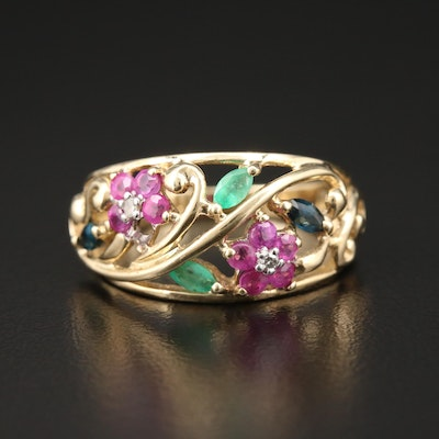 10K Yellow Gold Ruby and Gemstone Ring Featuring Foliate Motif