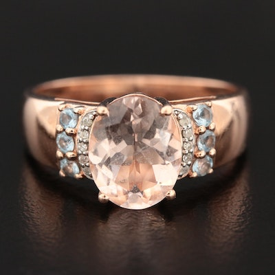 10K Rose Gold Morganite, Aquamarine, and Diamond Ring
