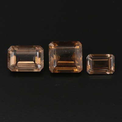 Cut Corner Rectangular Faceted 41.82 CTW Smoky Quartz Gemstones