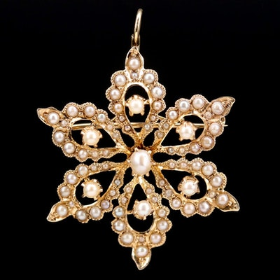 Art Nouveau Ryrie Brothers 14K Gold Seed Pearl Floral Converter Brooch