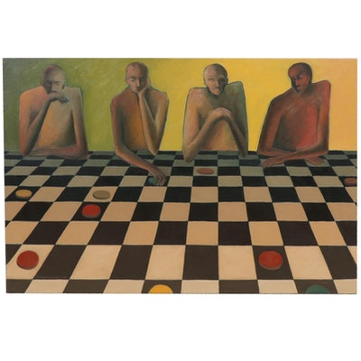 "Farnoosh Lanjani Oil Painting ""Game III"""