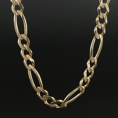 14K Yellow Gold Patterned Figaro Link Chain