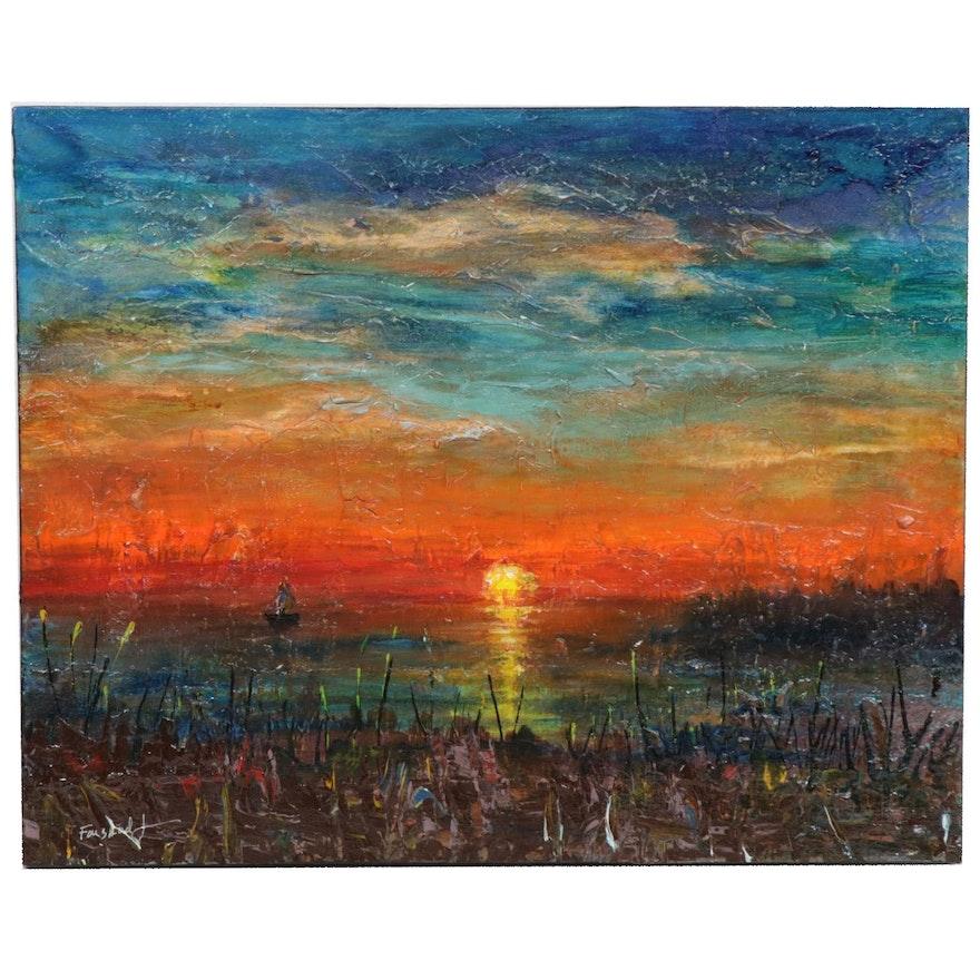 Farshad Lanjani Abstract Landscape Acrylic Painting