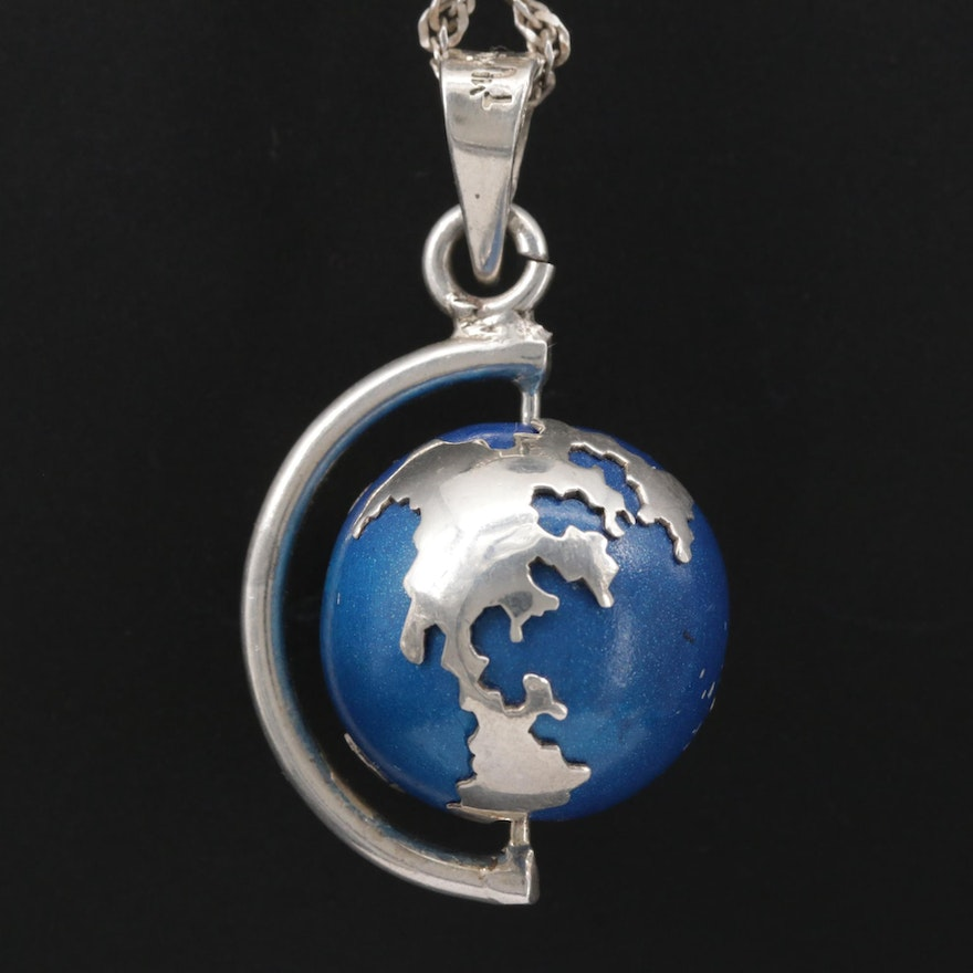 Sterling Silver Enamel Spinning Chime Globe Pendant Necklace