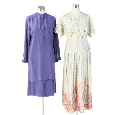 Chloé Silk Pinstriped and Koos van den Akker Silk Patchwork Two-Piece Dresses