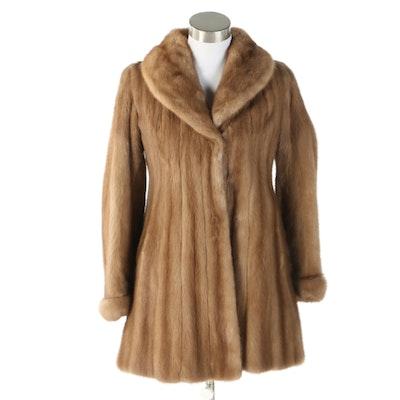Pastel Mink Fur Stroller Coat with Shawl Collar from Sakowitz, Vintage
